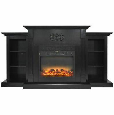 72 in electric fireplace in black coffee