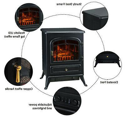 750W Fireplace Free Standing Heater Wood Fire Flame