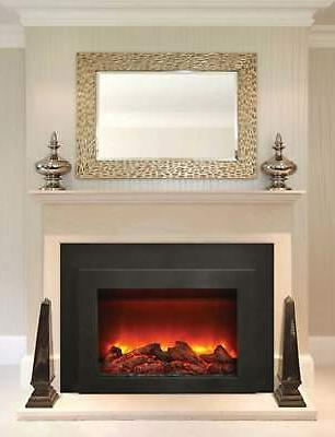 """Amantii Electric Fireplace with Black Surround/Overlay, 34"""""""
