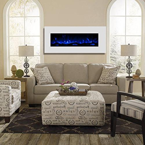 """Regal Flame Ashford White 50"""" Ventless Electric Wall Mounted Better Than Wood Gas Logs, Fireplace Log Sets, Space Propane"""