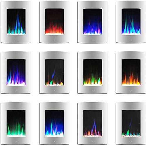 Cambridge CAM19VWMEF-1WHT 19.5 Vertical Fireplace White Multi-Color and Crystal Display