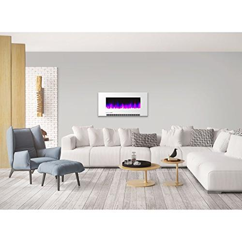 Cambridge CAM42WMEF-1WHT Wall-Mount Fireplace in White and Rock