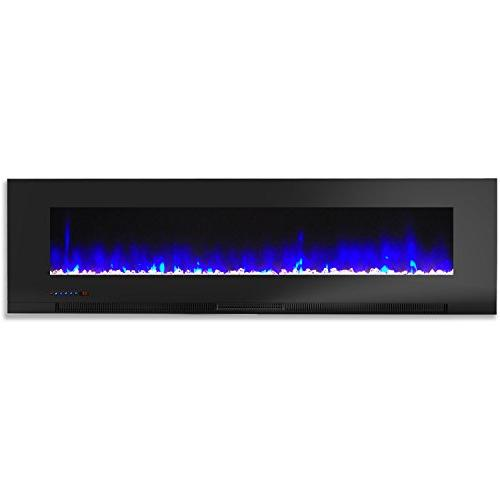 Cambridge 60 Wall-Mount Fireplace Black and Crystal