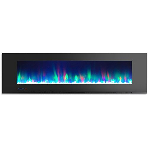 Cambridge CAM72WMEF-1BLK 72 In. Wall-Mount Fireplace and Crystal Rock Display