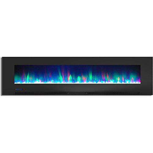 Cambridge CAM78WMEF-1BLK In. Wall-Mount Electric Black Flames and Crystal