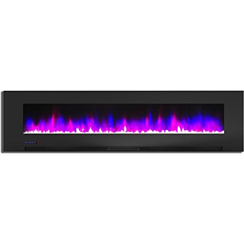 Cambridge 78 In. Wall-Mount Fireplace Black Multi-Color and Crystal