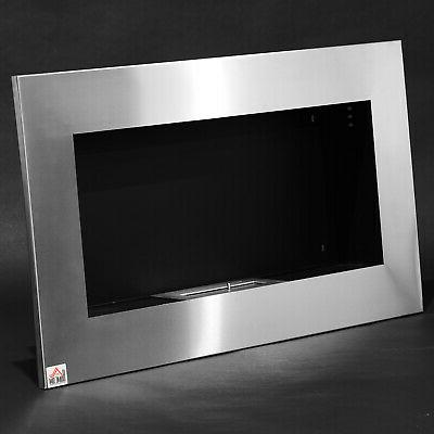Contemporary Mounted Bio Ethanol Fireplace Stainless Steel