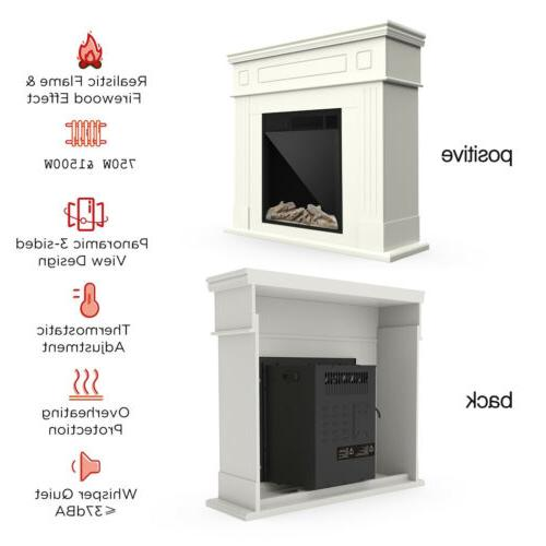 Electric Fireplace Heater Wood Mantel Control LED Logs