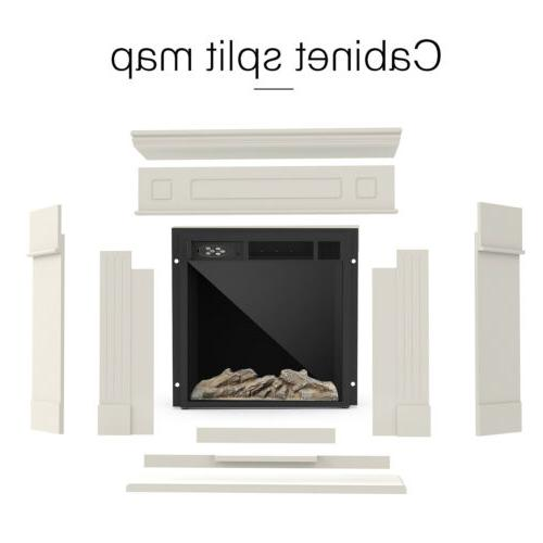 Electric Fireplace Wood Mantel Cabinet Control LED