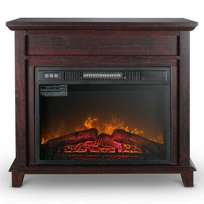 Electric Fireplace Push Button Control Heater 32-Inch, Wood Finish