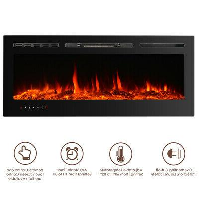 "Electric Fireplace 50"" LED Flame Recessed Remote Control Gla"
