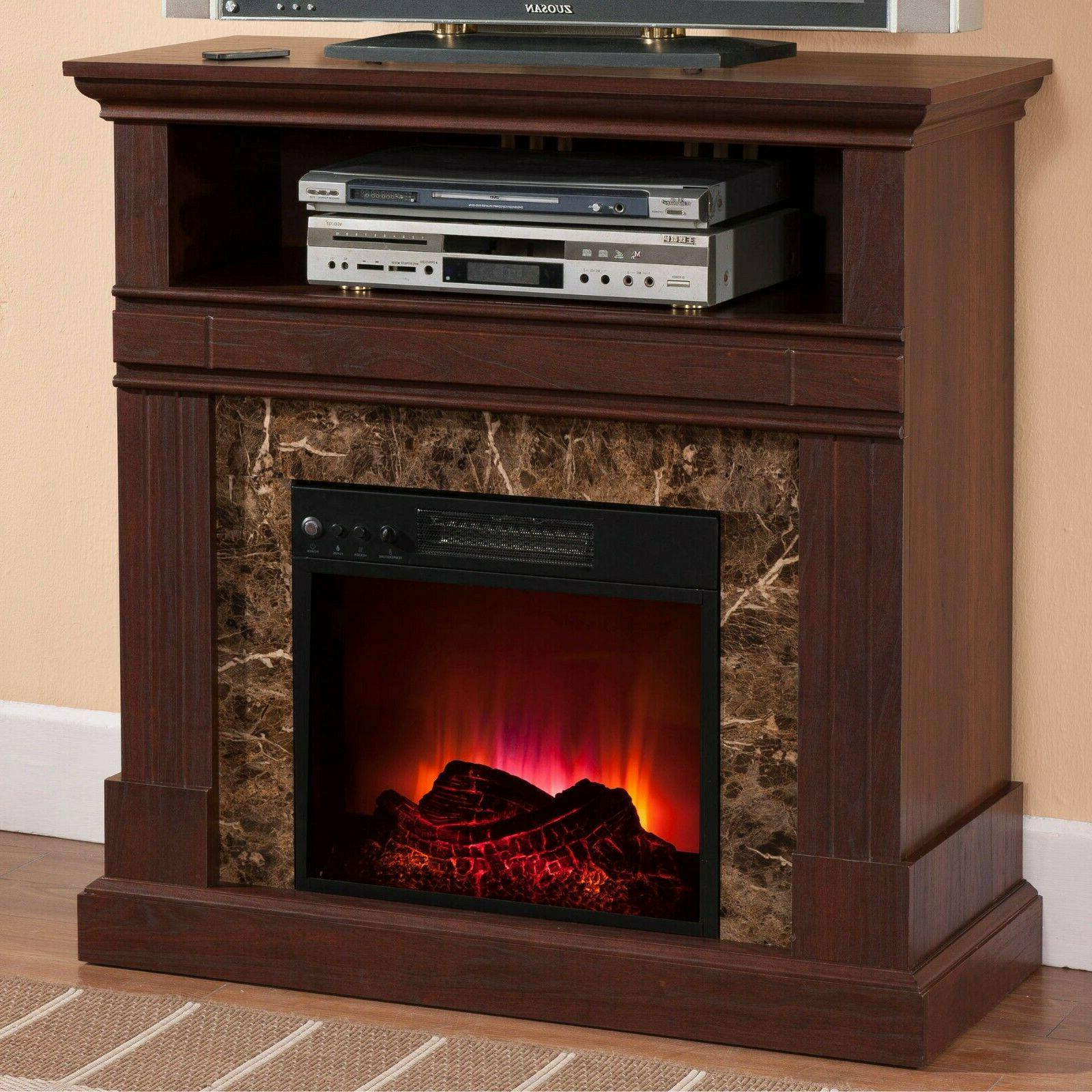 Electric Fireplace with Mantle Walnut Finish LED Flames Heat