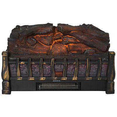 Electric Log Set with Ember Fireplace LED
