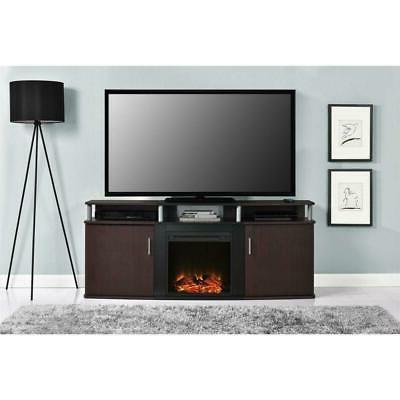 Modern Fireplace Stand in Cherry Wood Finish - up 70-