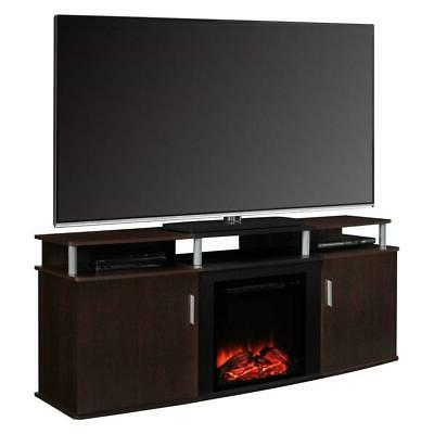 modern electric fireplace tv stand in cherry