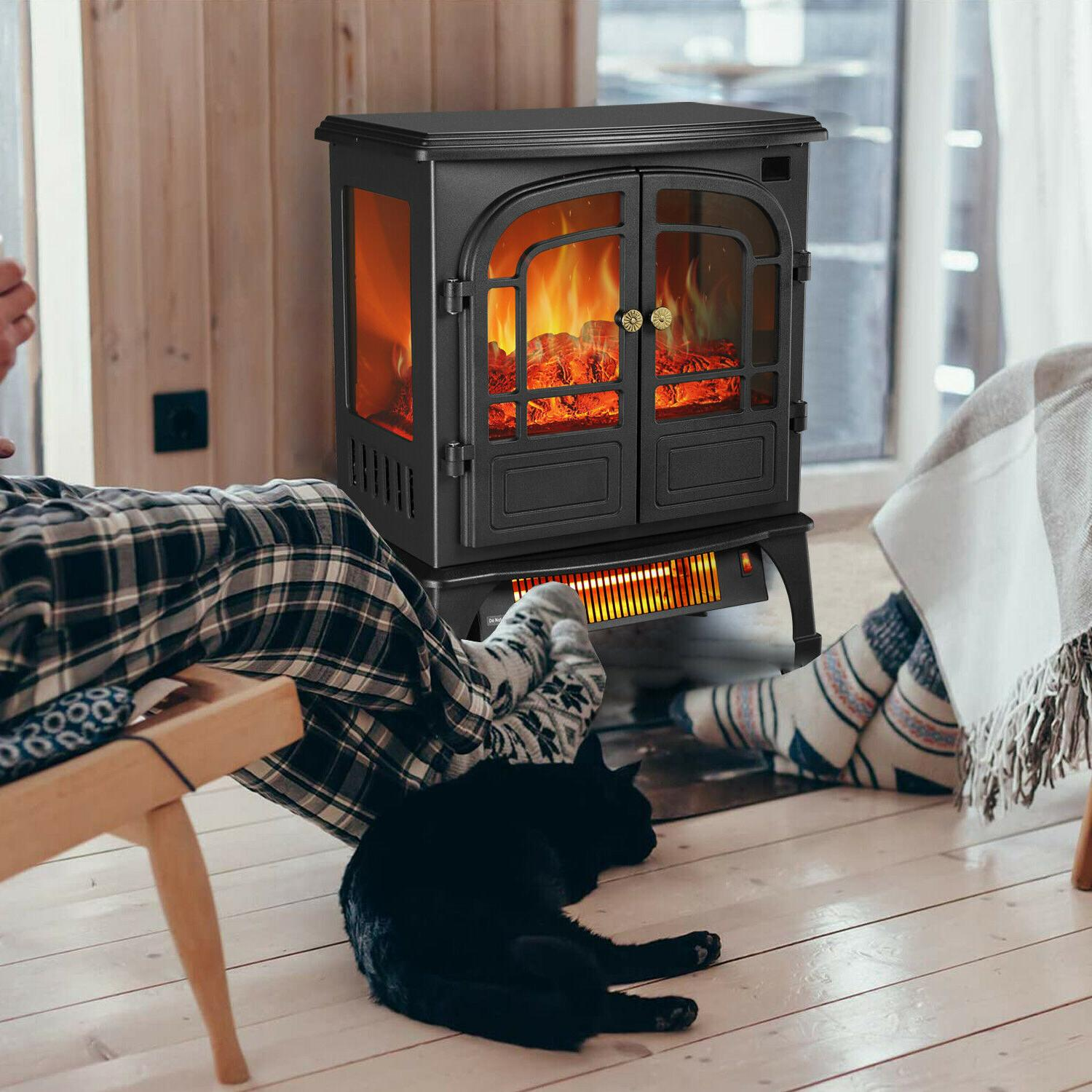 protable indoor electric fireplace stove heater realistic