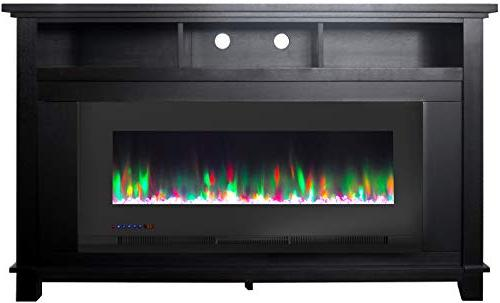 Cambridge Jose in. TV in with 50 in. Insert and Multi-Color LED Rock Display, CAM5735-1BLK Fireplace