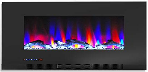 Cambridge 70-in. TV Stand Multi-Color LED Flames, Driftwood Display, and CAM6938-2WHT