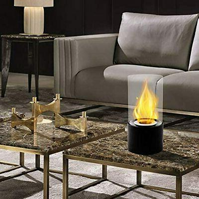 Black Round Ventless Portable Ethanol Real Fireplace