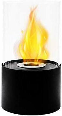 Black Round Ventless Tabletop Portable Bio Ethanol Real Fire