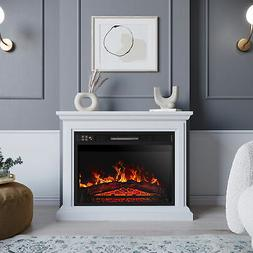Electric Quartz Infrared Fireplace Heater Mantel, w/ Remote