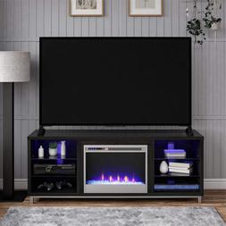 """Ameriwood Home Lumina Fireplace Stand for TVs, up to 70"""", Bl"""