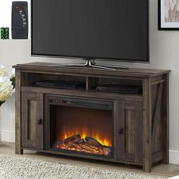 """New Rustic Wood 2 Barn Door Electric Fireplace 50"""" TV Stand"""