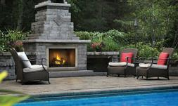 OUTDOOR GAS FIREPLACE NAPOLEON RIVERSIDE 42 W/ LOGS - STAINL
