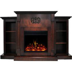 Sanoma Electric Fireplace Heater with 72-In. Mahogany Mantel