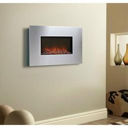"Silver Finish 34"" Rectangular Wall Mount Fireplace Home Livi"