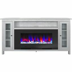 "Somerset 70"" Electric Fireplace TV Stand with Driftwood Logs"
