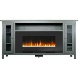 somerset 70 in gray electric fireplace tv