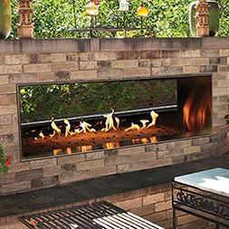 "Outdoor 60"" SS Manual See-Through Linear Fireplace - Natural"