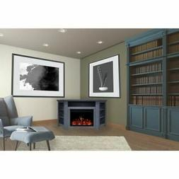 "Stratford Electric Fireplace Heater with 56"" Blue Corner TV"