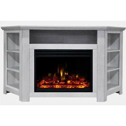 Stratford Electric Fireplace Heater with 56-In. White Corner