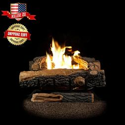 Vent-Free Natural Gas Fireplace Logs 24 in. Thermostat Contr