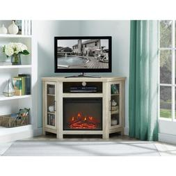 White Oak 48 in. Wood Corner Fireplace Media TV Stand Consol
